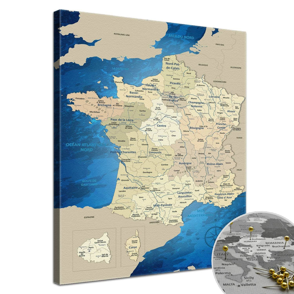 Leinwandbild - Frankreichkarte Blue Ocean  - Pinnwand, Französisch|Canvas Art - France Map Blue Ocean - Pinboard, french