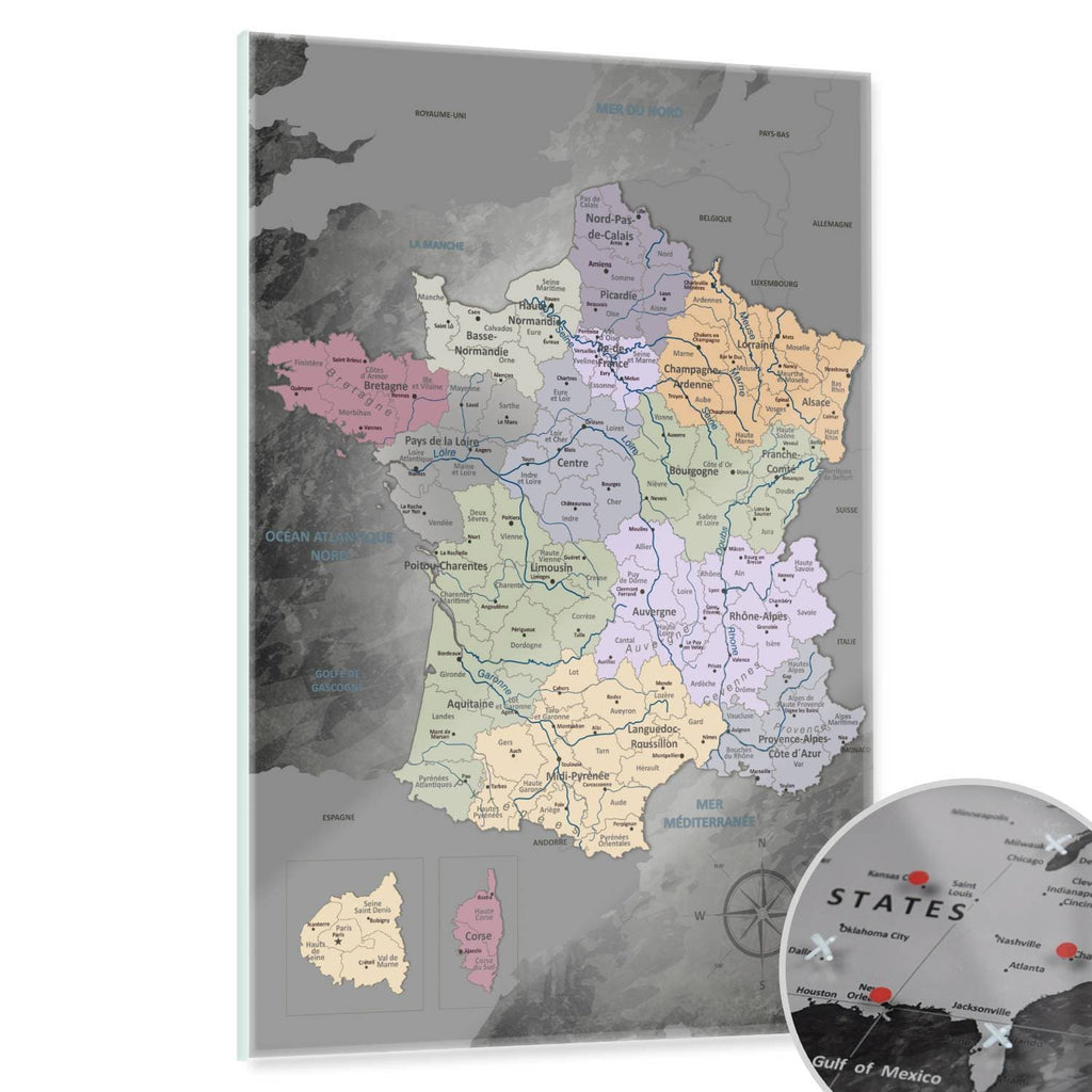 Glasbild - Frankreichkarte Edelgrau - Französisch|Glass Picture - France Map Noble Gray - French