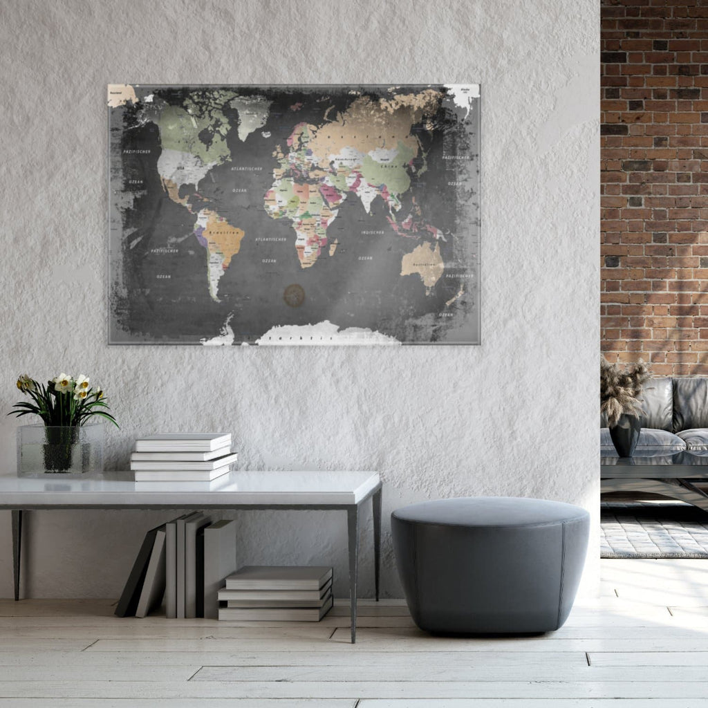 Glasbild - Weltkarte Graphit - Deutsch|Glass Picture - World Map Graphite - German