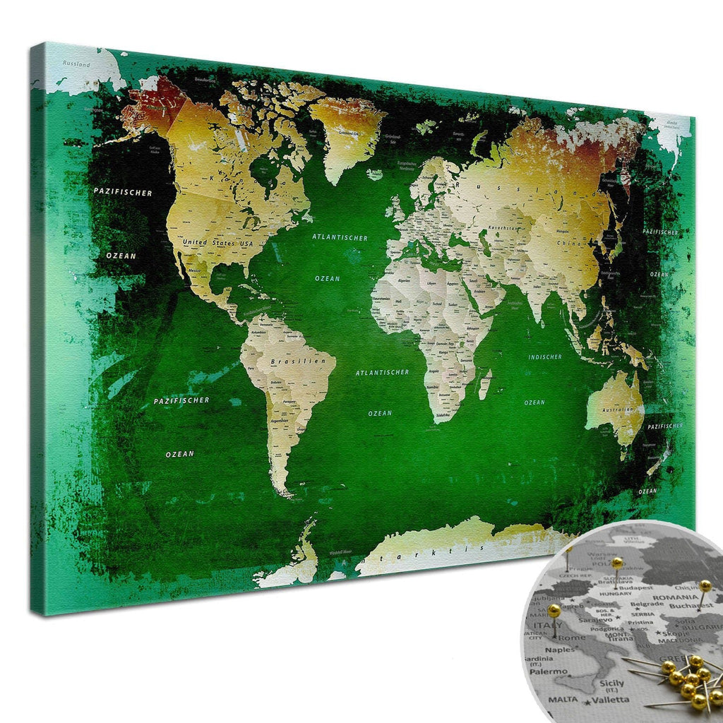 Leinwandbild - Weltkarte Grün - Pinnwand, Deutsch|Canvas Art - World Map Green - Pinboard, German