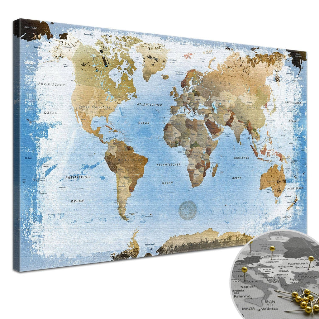 Leinwandbild - Weltkarte Ice - Pinnwand, Deutsch|Canvas Art - World Map Ice - Pinboard, German