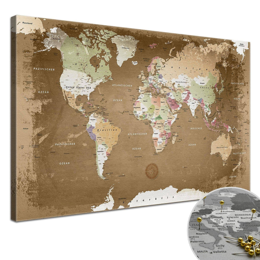 Leinwandbild - Weltkarte Oldstyle - Pinnwand, Deutsch|Canvas Art - World Map Oldstyle - Pinboard, German