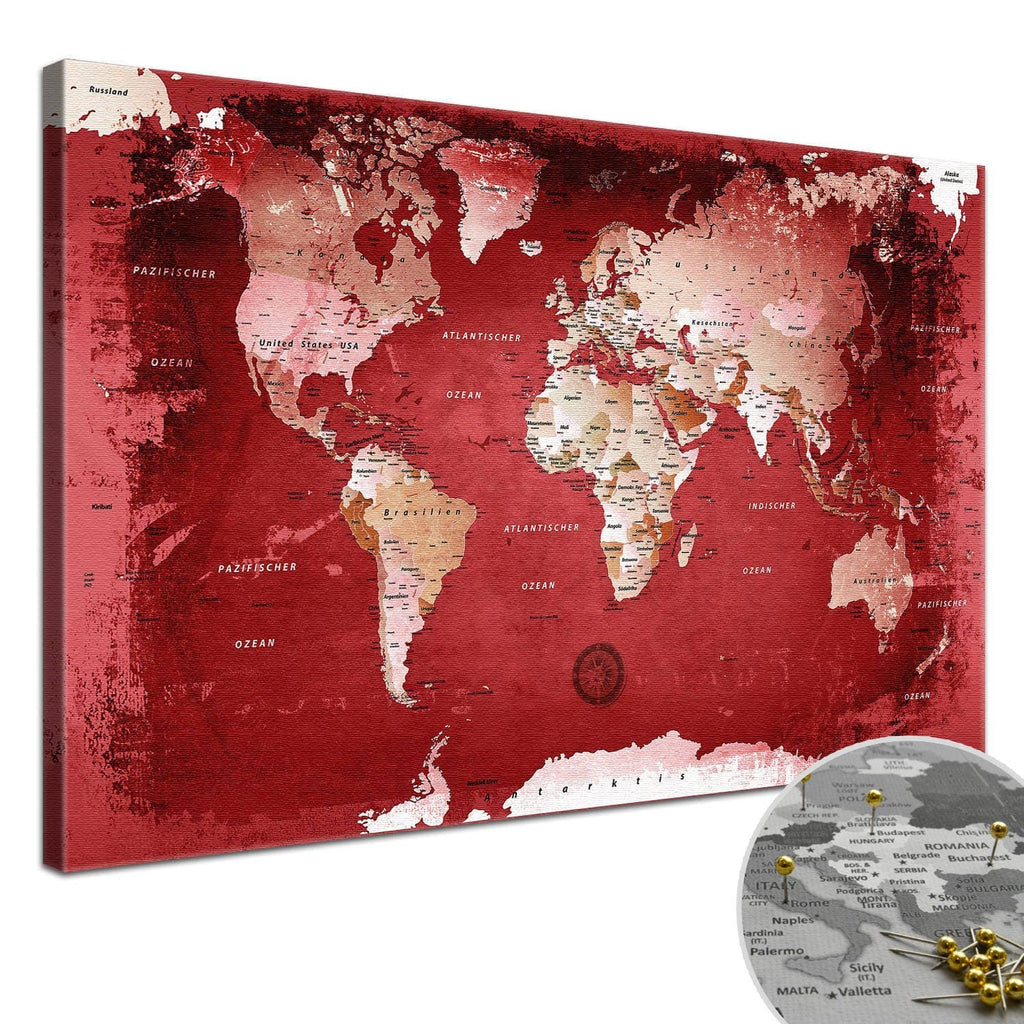 Leinwandbild - Weltkarte Red - Pinnwand, Deutsch|Canvas Art - World Map Red - Pinboard, German