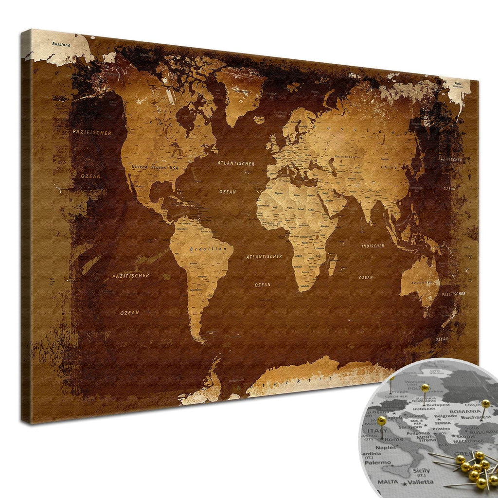 Leinwandbild - Weltkarte Retro - Pinnwand, Deutsch|Canvas Art - World Map Retro - Pinboard, German