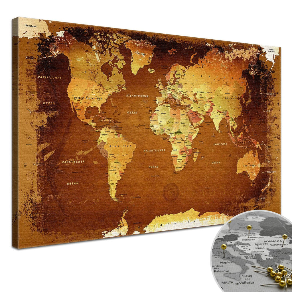 Leinwandbild - Weltkarte Retro Bunt - Pinnwand, Deutsch|Canvas Art - World Map Retro Stained - Pinboard, German