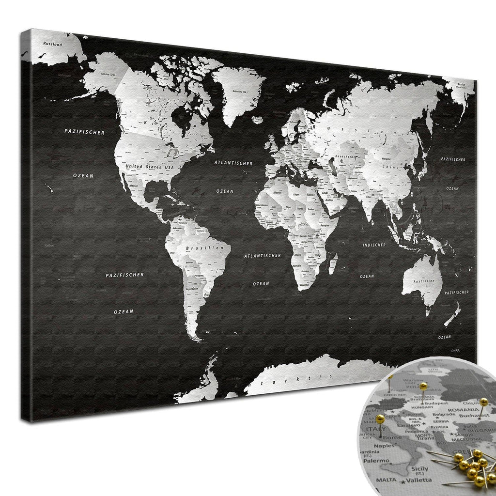 Leinwandbild - Weltkarte SW - Pinnwand, Deutsch|Canvas Art - World Map BW - Pinboard, German