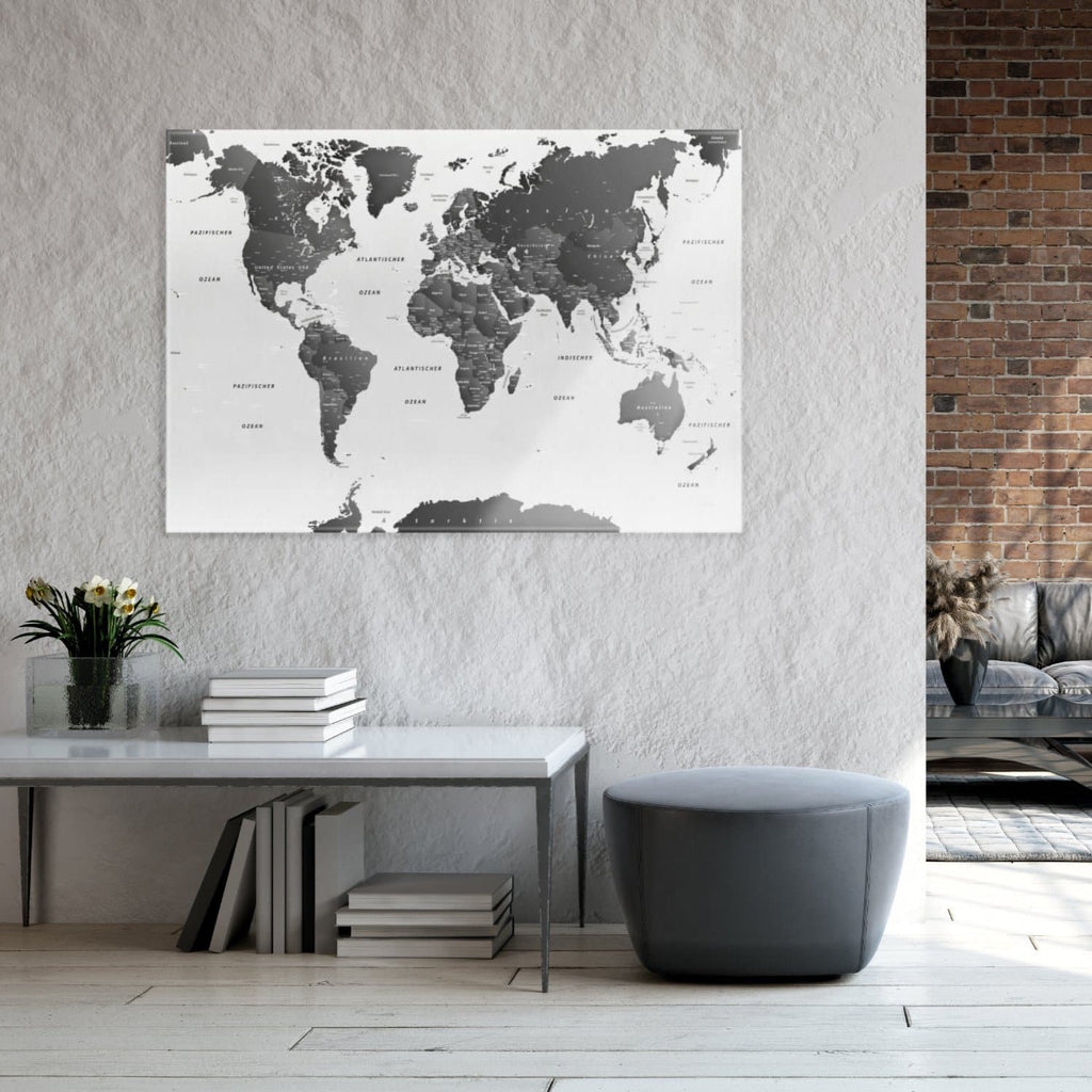 Glasbild - Weltkarte Sw Hell - Deutsch|Glass Picture - World Map Sw Bright - German