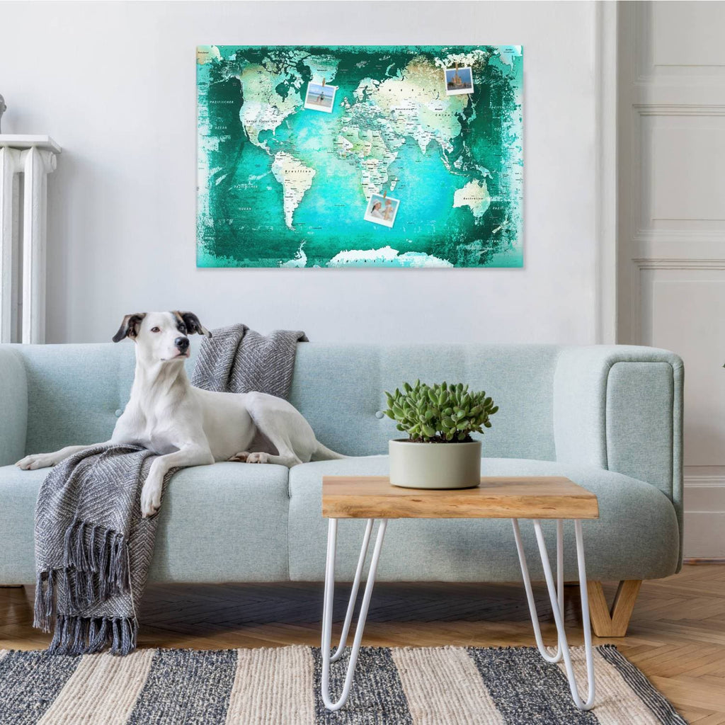 Leinwandbild - Weltkarte Türkis - Pinnwand, Deutsch|Canvas Art - World Map Turquoise - Pinboard, German