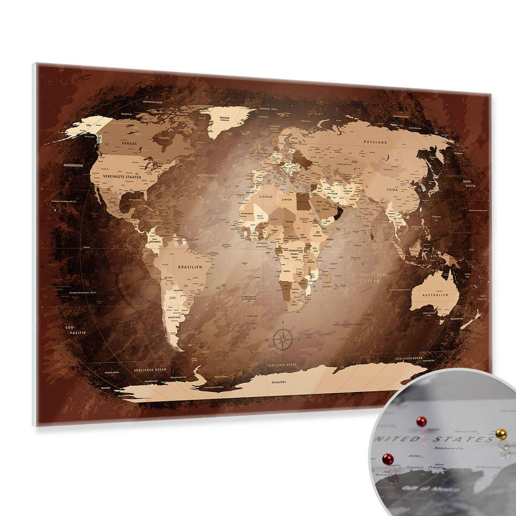 Glasbild - World Map Antik - Deutsch|Glass Picture - World Map Antique - German