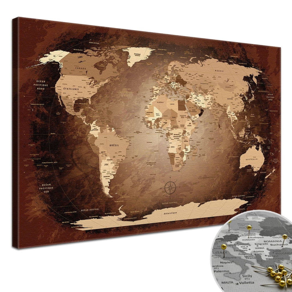Leinwandbild - World Map Antik - Pinnwand, Französisch|Canvas Art - Antique World Map - Pinboard, French