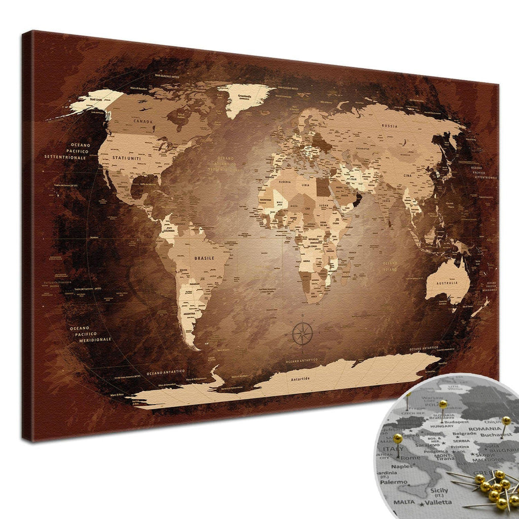 Leinwandbild - World Map Antik - Pinnwand, Italienisch|Canvas Art - Antique World Map - Pinboard, Italian