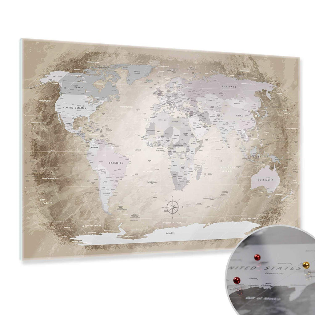 Glasbild - World Map Beige - Deutsch|Glass Picture - World Map Beige - German