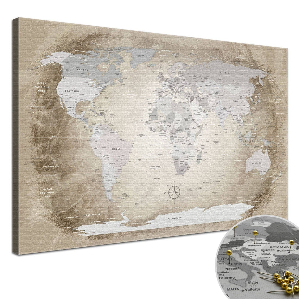 Leinwandbild - World Map Beige - Pinnwand, Französisch|Canvas Art - World Map Beige - Pinboard, French