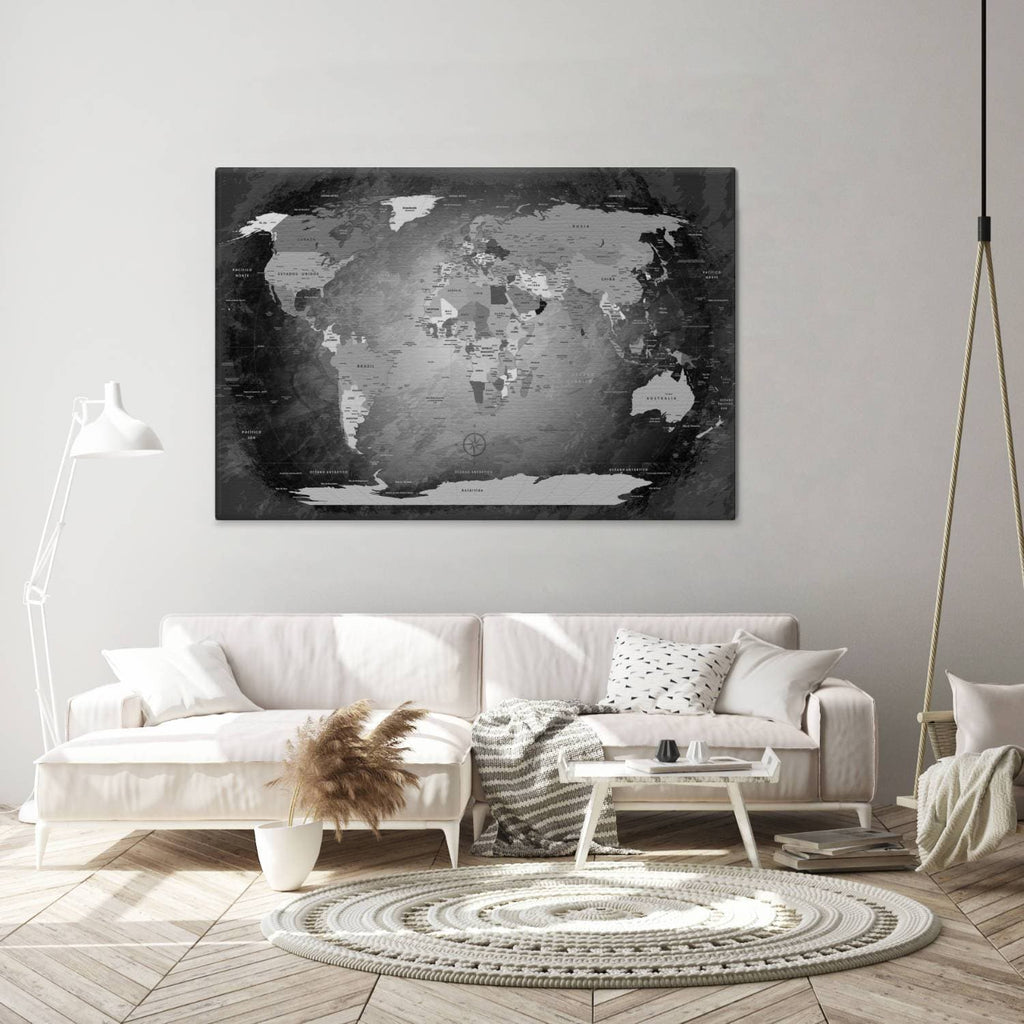 Leinwandbild - World Map Black And White - Pinnwand, Deutsch|Canvas Art - World Map Black And White - Pinboard, German