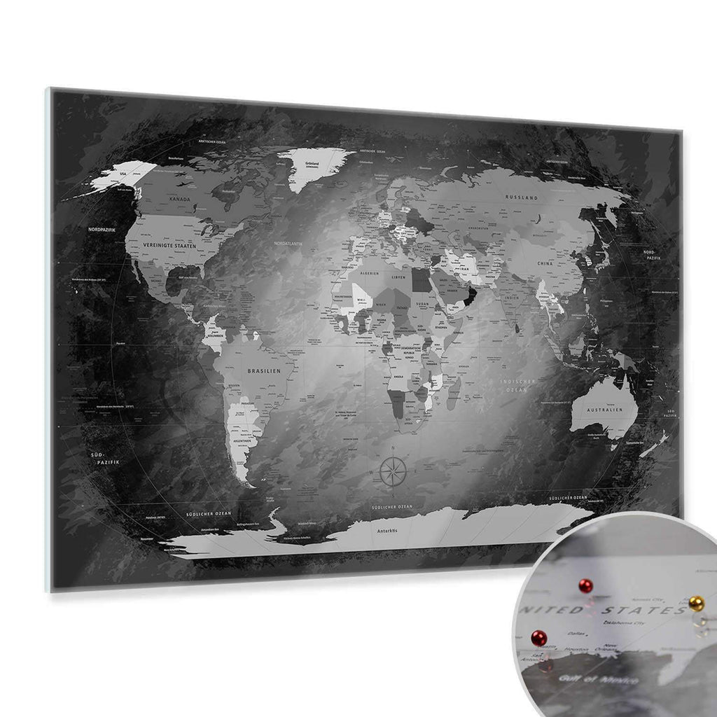 Glasbild - World Map Black And White - Deutsch|Glass Picture - World Map Black And White - German