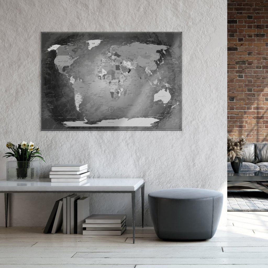 Glasbild - World Map Black And White - Englisch|Glass Picture - World Map Black And White - English