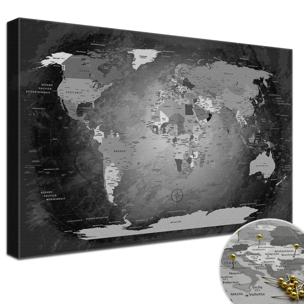 Leinwandbild - World Map Black and White - Pinnwand, Italienisch|Canvas Art - World Map Black And White - Pinboard, Italian