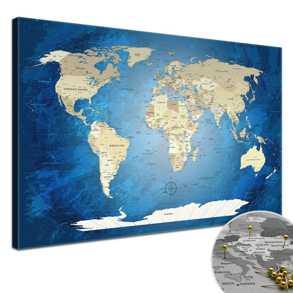 Leinwandbild - World Map Blue Ocean - Pinnwand, Deutsch|Canvas Art - World Map Blue Ocean - Pinboard, German