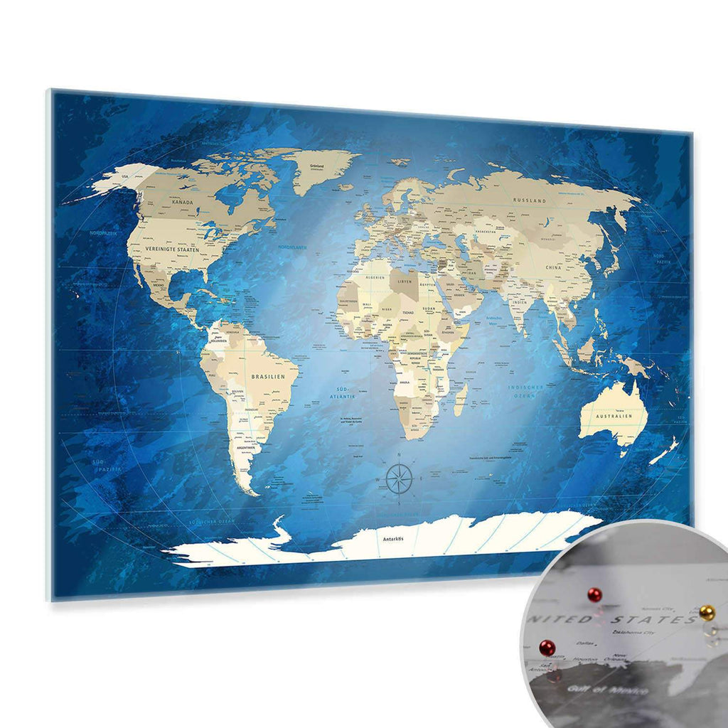 Glasbild - World Map Blue Ocean - Deutsch|Glass Picture - World Map Blue Ocean - German