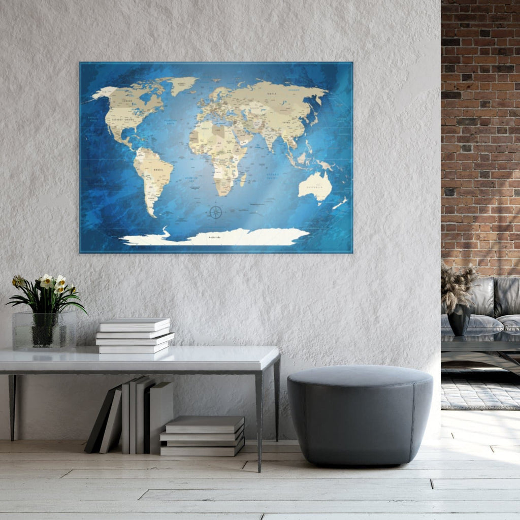 Glasbild - World Map Blue Ocean - Englisch|Glass Picture - World Map Blue Ocean - English