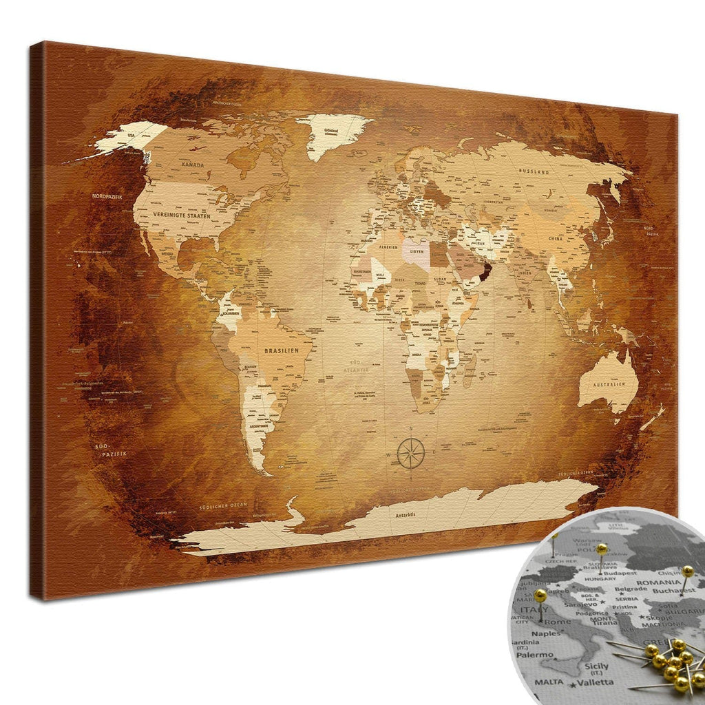 Leinwandbild - World Map Braun Colorful - Pinnwand, Deutsch|Canvas Art - World Map Brown Colorful - Pinboard, German