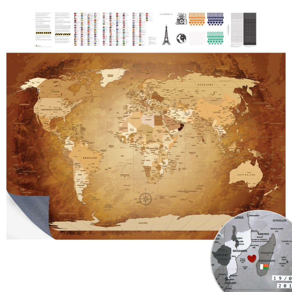Klebeposter - World Map Braun Colorful - deutsch|Adhesive Poster - World Map Brown Colorful - German