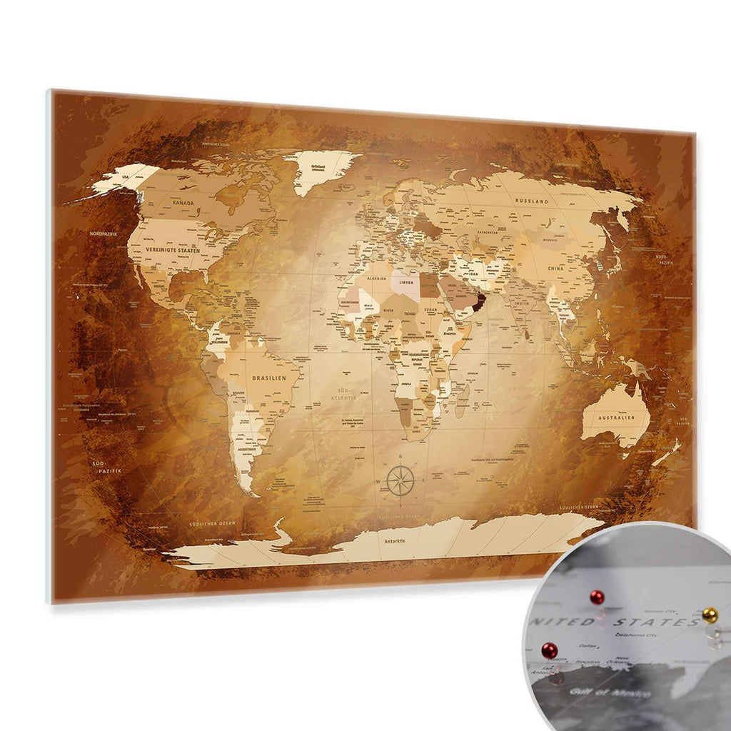 Glasbild - World Map Braun Colorful - Deutsch|Glass Picture - World Map Brown Colorful - German
