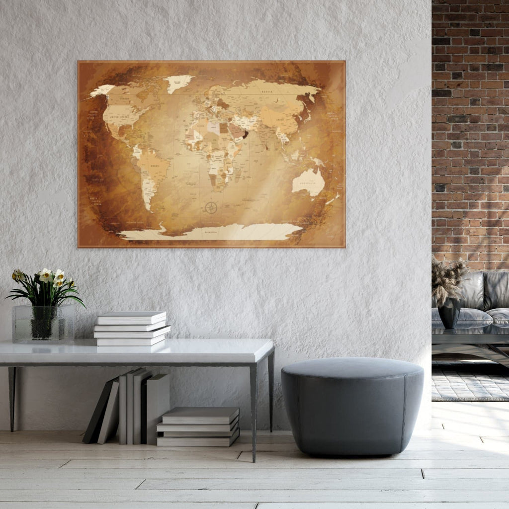 Glasbild - World Map Braun Colorful - Englisch|Glass Picture - World Map Brown Colorful - English
