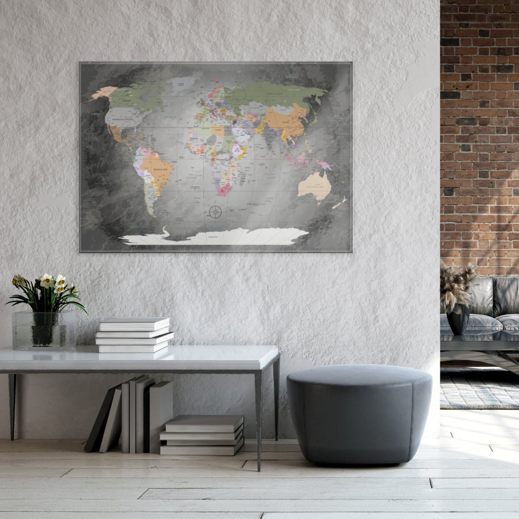 Glasbild - World Map Edelgrau - Deutsch|Glass Picture - World Map Noble Gray - German