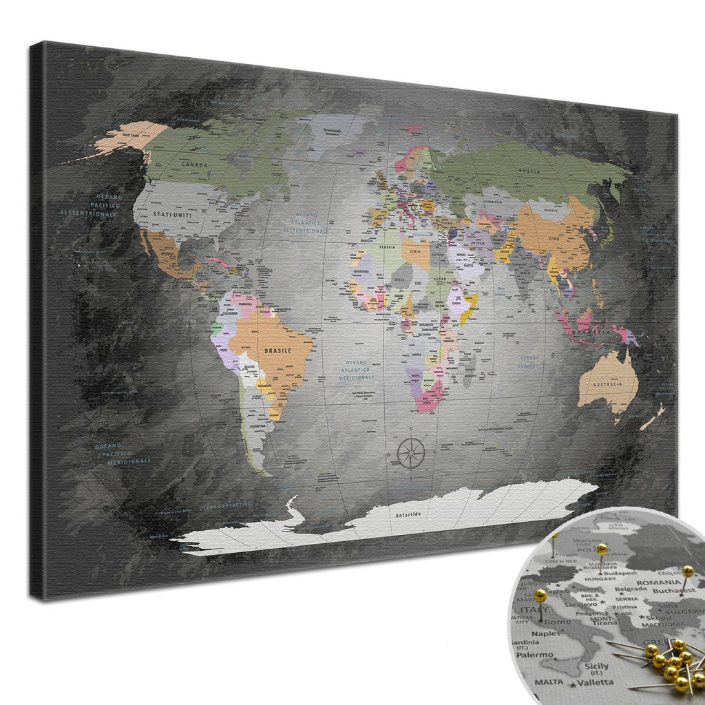Leinwandbild - World Map Edelgrau - Pinnwand, Italienisch|Canvas Art - World Map Noble Gray - Pinboard, Italian