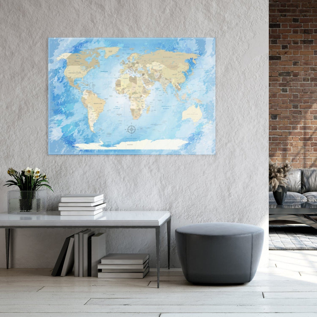 Glasbild - World Map Frozen - Deutsch|Glass Picture - Frozen World Map - German