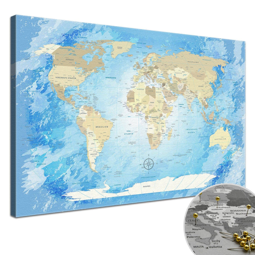 Leinwandbild - World Map Frozen - Pinnwand, Deutsch|Canvas Art - Frozen World Map - Pinboard, German