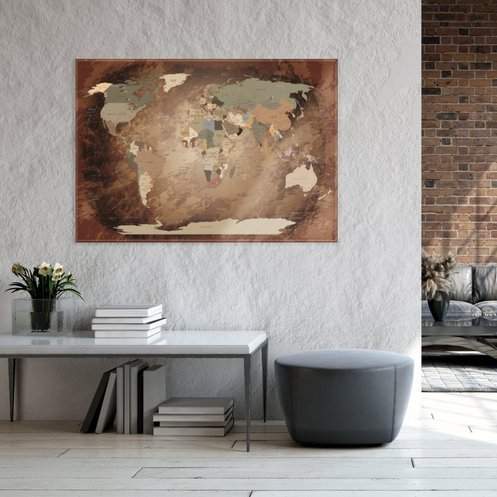 Glasbild - World Map Intensive - Englisch|Glass Picture - World Map Intensive - English