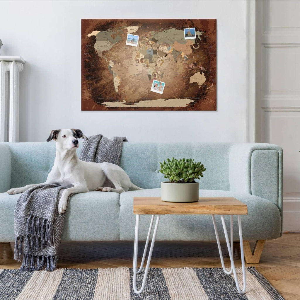 Leinwandbild - World Map Intensive - Pinnwand, Englisch|Canvas Art - World Map Intensive - Pinboard, English