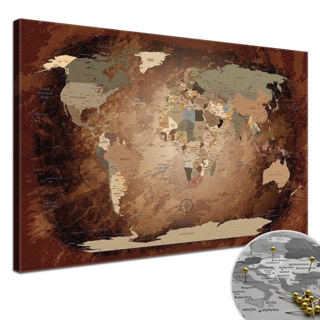 Leinwandbild - World Map Intensive - Pinnwand, Französisch|Canvas Art - World Map Intensive - Pinboard, French