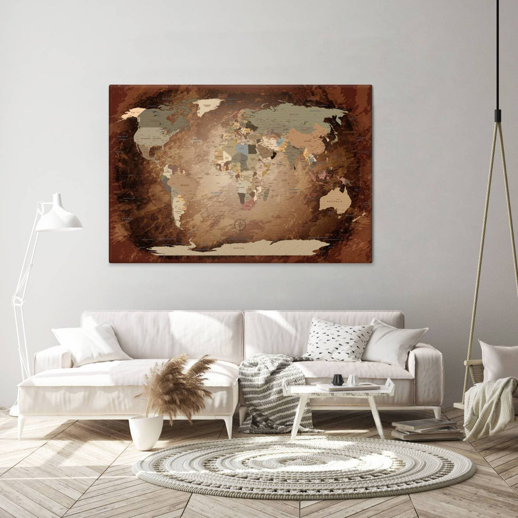Leinwandbild - World Map Intensive - Pinnwand, Italienisch|Canvas Art - World Map Intensive - Pinboard, Italian