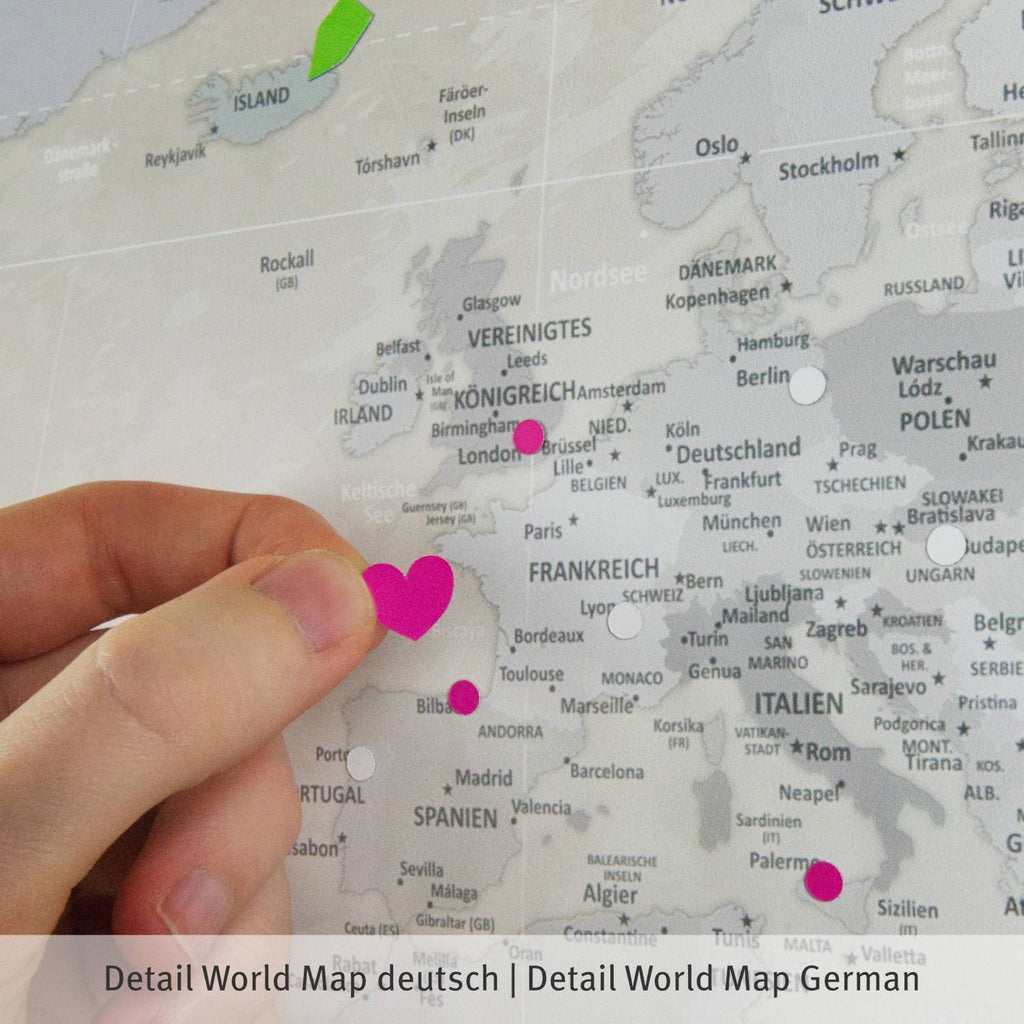 Klebeposter - World Map Beige - englisch|Adhesive Poster - World Map Beige - English