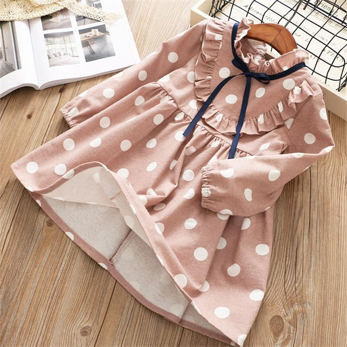 0 6 Years Girl Dress Spring Cartoon Casual Full Sleeves Dot Kid Children Girls Clothing-Dresses-Baby park No.01 Store-Blue-2T-EpicWorldStore.com