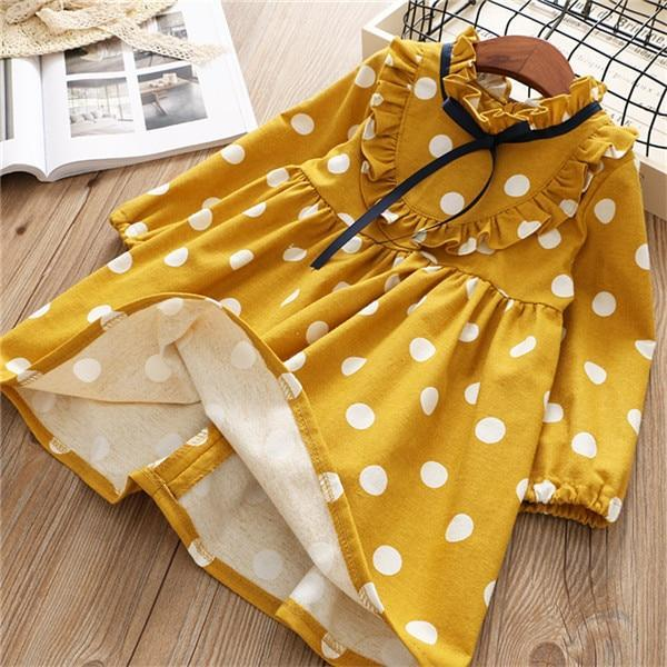 0 6 Years Girl Dress Spring Cartoon Casual Full Sleeves Dot Kid Children Girls Clothing-Dresses-Baby park No.01 Store-Gold-2T-EpicWorldStore.com