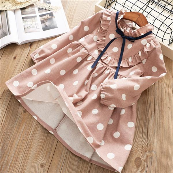 0 6 Years Girl Dress Spring Cartoon Casual Full Sleeves Dot Kid Children Girls Clothing-Dresses-Baby park No.01 Store-Khaki-2T-EpicWorldStore.com