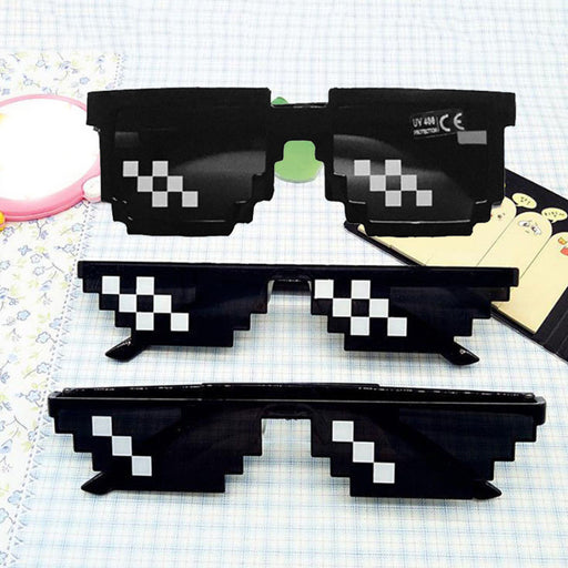 1PC New Black Eye Glasses With IT Sunglasses Fashion Deal Cool Eyewear Unisex Thug Life 8 Bit Pixel Glasses