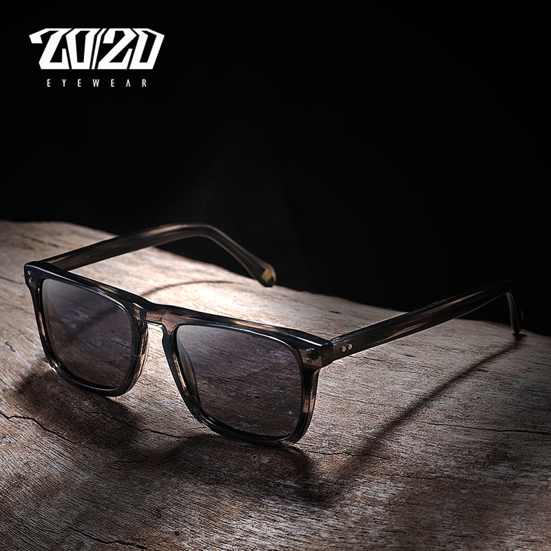 20/20 New Polarized Acetate Sunglasses Men Women Brand Square Black Sun Glasses Driving Shades Unisex Eyewear Oculos AT8034