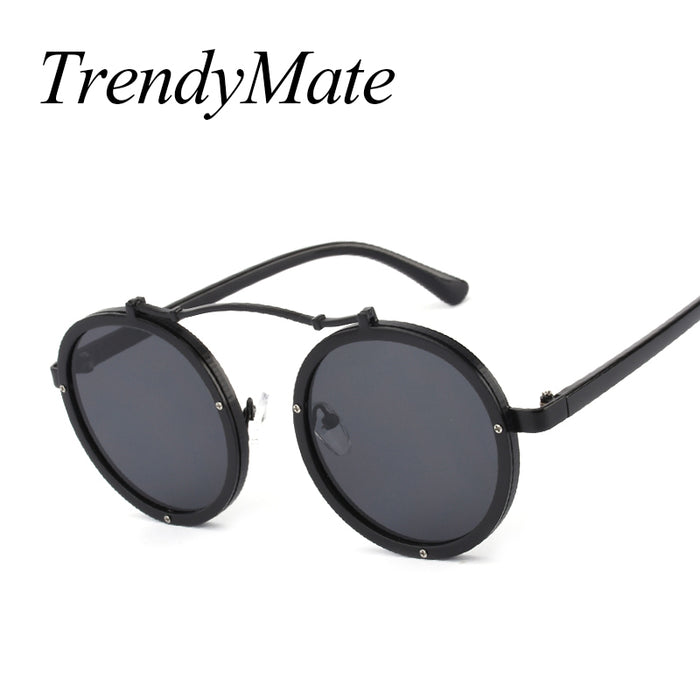 Gothic Steampunk Sunglasses Men Women Metal Wrap Eyeglasses Round Shades Brand Designer Punk Sun Glasses Mirror UV400 M561