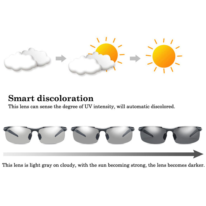 New Photochromic Polarized Sunglasses Men's Anti-UV Sunglasses for Drivers Male Safety Driving Goggle UV400 Sun Glasses