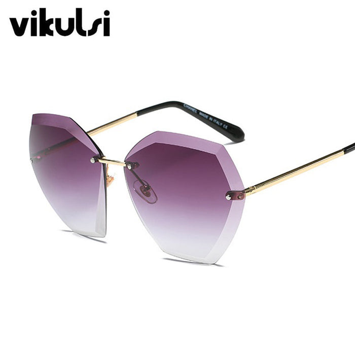 Pink Gradient Rimless Sunglasses For Women Oversized Eyewear New Fashion Sun Glasses Female Summer Travel Essential UV400