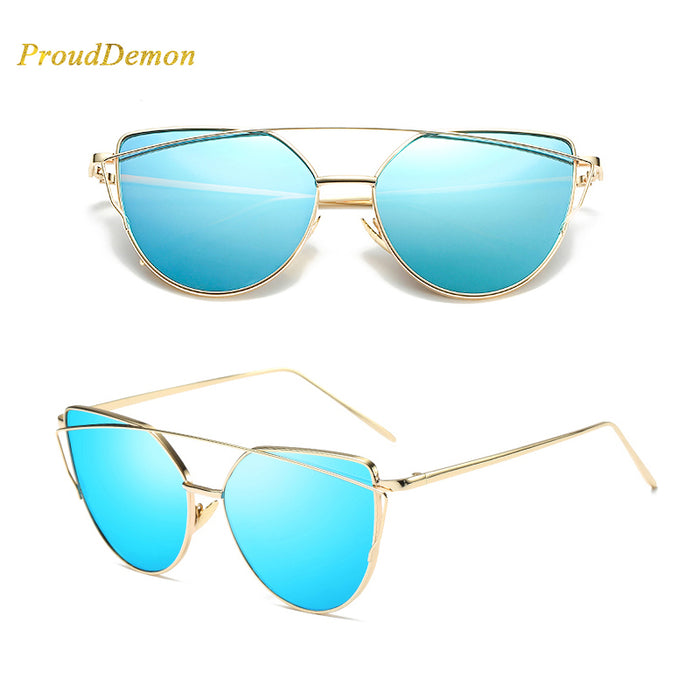 Cat Eye vintage Brand designer rose gold mirror Sunglasses For Women Metal Reflective flat lens Sun Glasses Female oculos