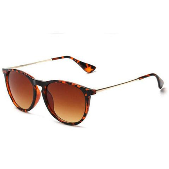 Hot Vintage Retro Mirror Erika Sunglasses Women Brand Designer Cat Eye Leopard Rays Protection Mirrored 4171 Sun Glasses