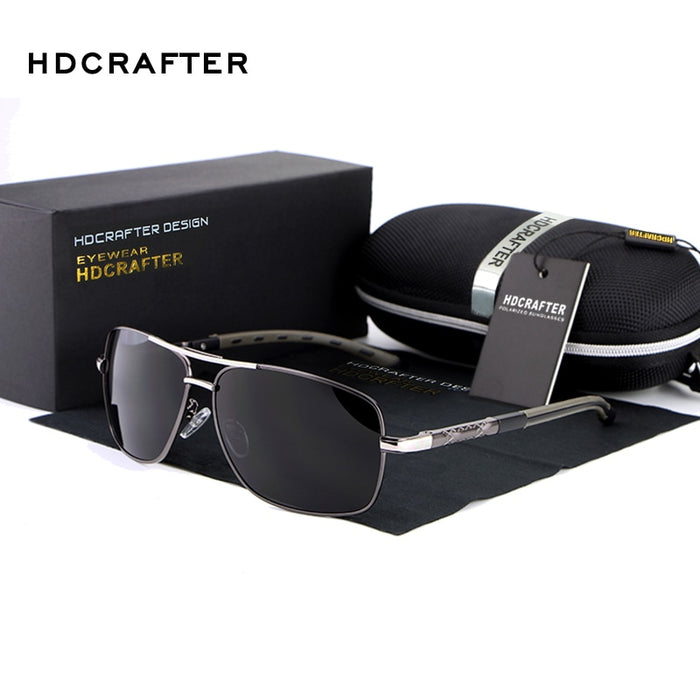 NEW Men High Quality Brand Design Polarized Driving Rectangle Sun Glasses UV400 Fashion Sunglasses Men with Box