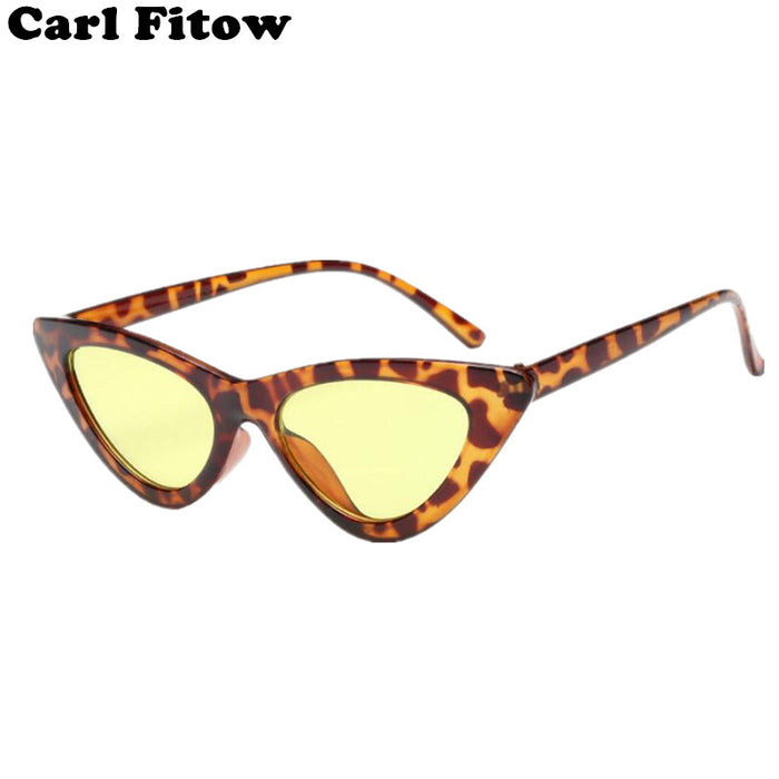 New Cute Sexy Retro Cat Eye Sunglasses Women Black White Triangle Vintage Cheap Sun Glasses Female UV400