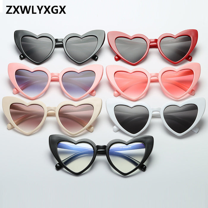 New Fashion Love Heart Cat Eye Sunglasses Women Brand Designer Vintage Gradient Sun Glasses Shades Oculos De Sol